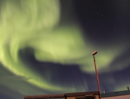 Northen lights in the harbour