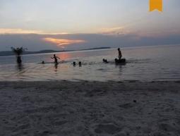 Playing at sunset